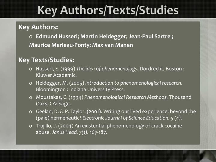 Key Authors/Texts/Studies