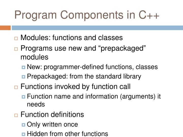 Program Components in C++