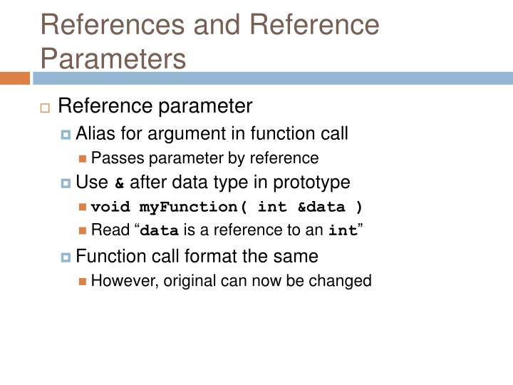 References and Reference Parameters