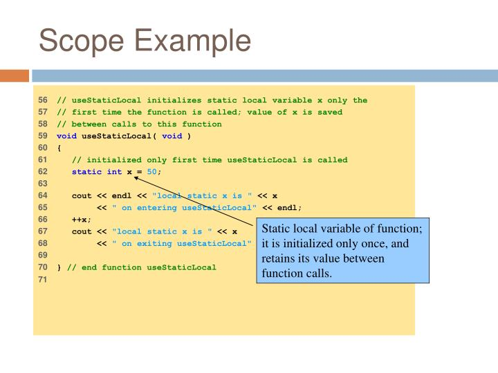 Static local variable of function; it is initialized only once, and retains its value between function calls.