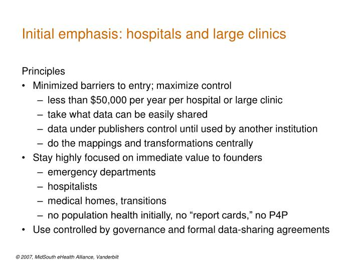 Initial emphasis: hospitals and large clinics