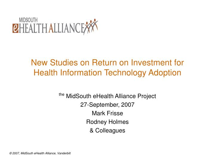 new studies on return on investment for health information technology adoption