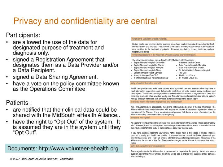 Privacy and confidentiality are central