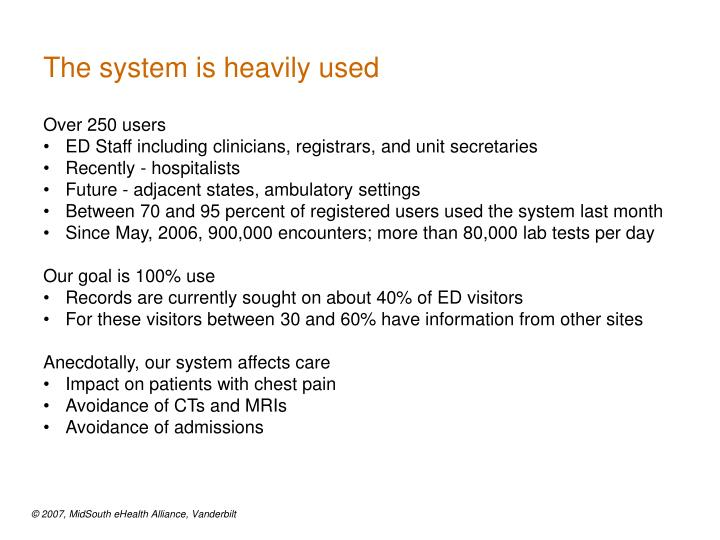 The system is heavily used