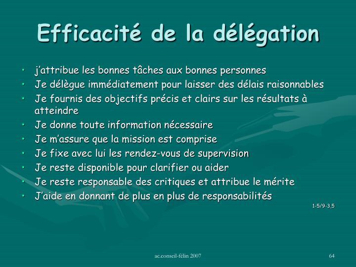 Efficacité de la délégation