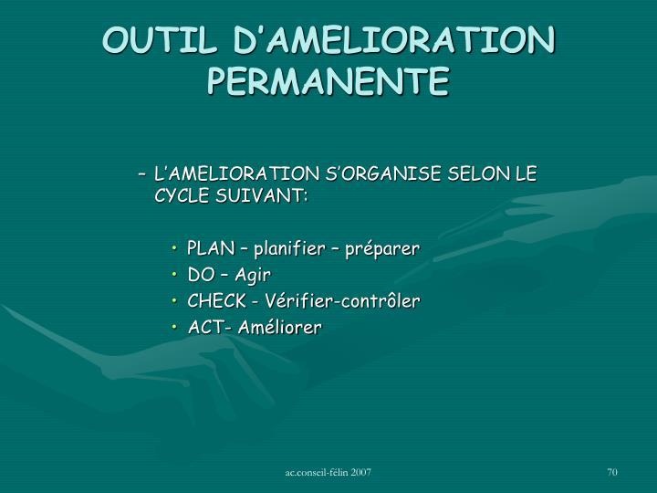 OUTIL D'AMELIORATION PERMANENTE