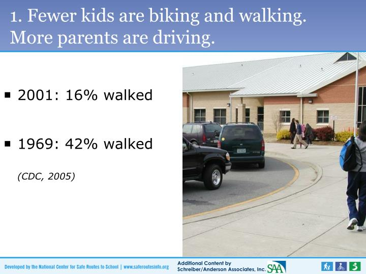 1. Fewer kids are biking and walking.       More parents are driving.
