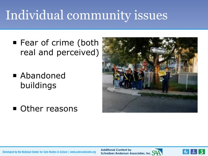 Individual community issues