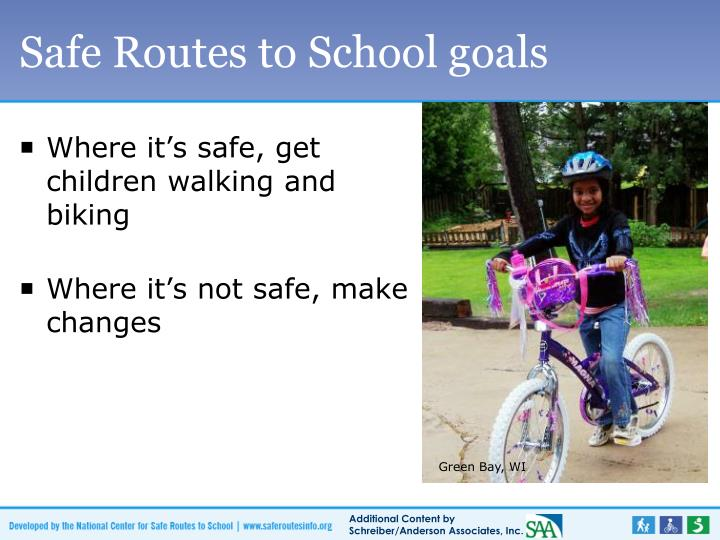 Safe Routes to School goals