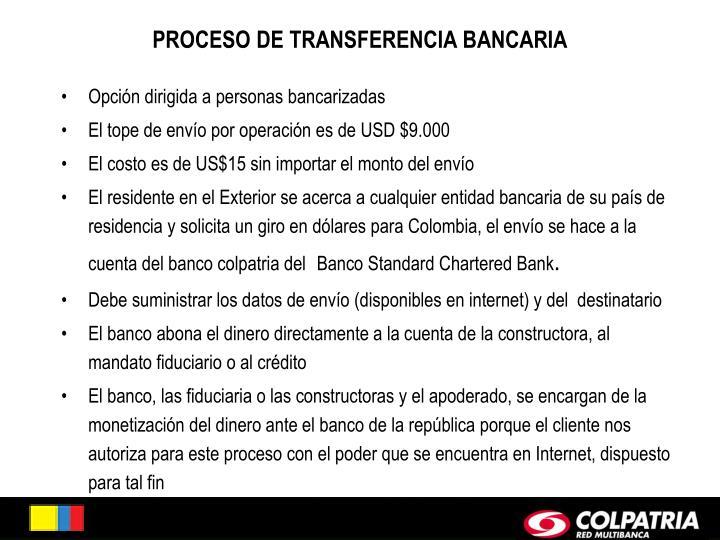 PROCESO DE TRANSFERENCIA BANCARIA