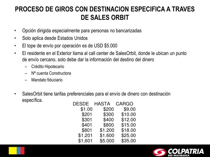 PROCESO DE GIROS CON DESTINACION ESPECIFICA A TRAVES DE SALES ORBIT
