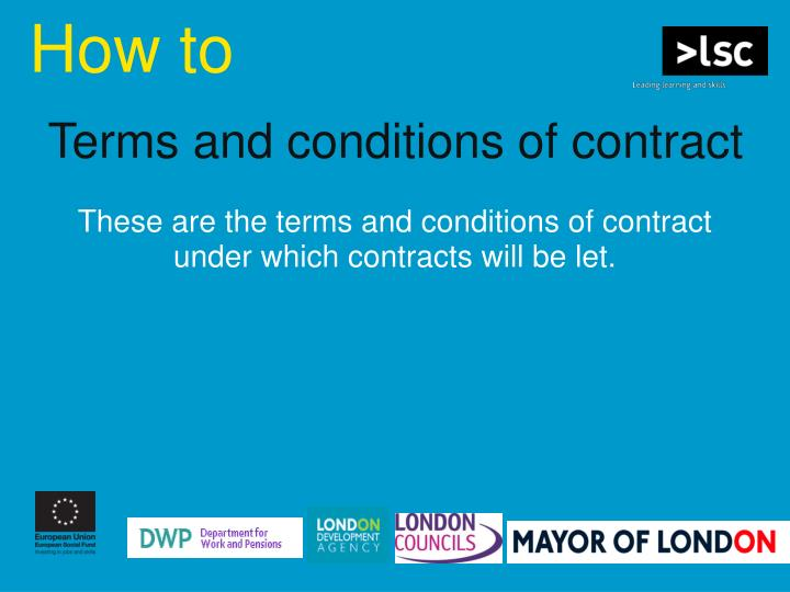 Terms and conditions of contract