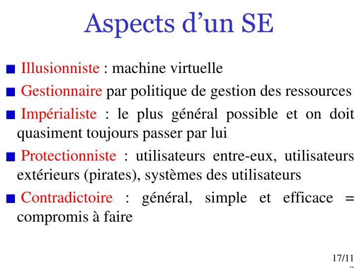Aspects d'un SE