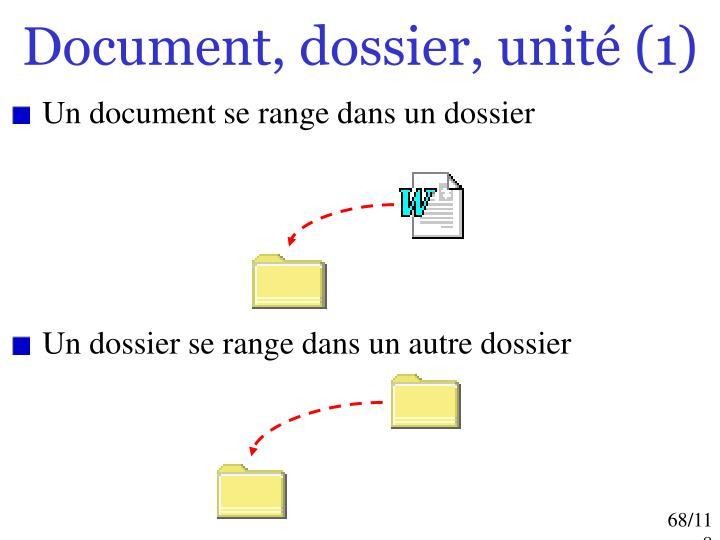 Document, dossier, unité (1)