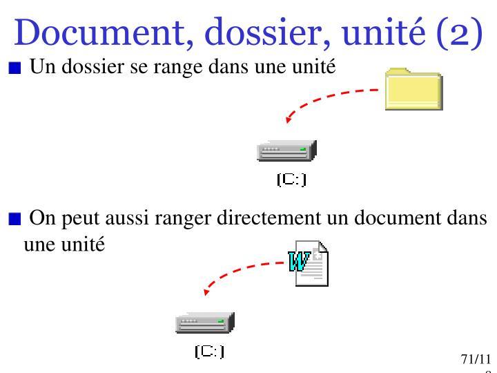 Document, dossier, unité (2)