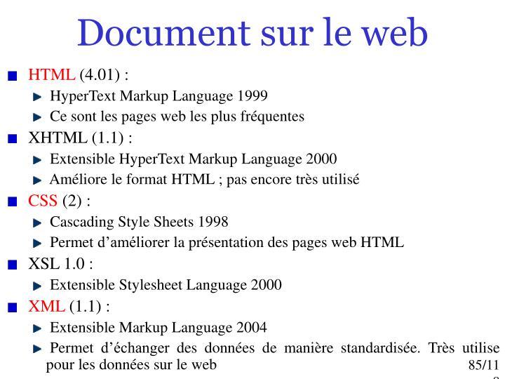 Document sur le web