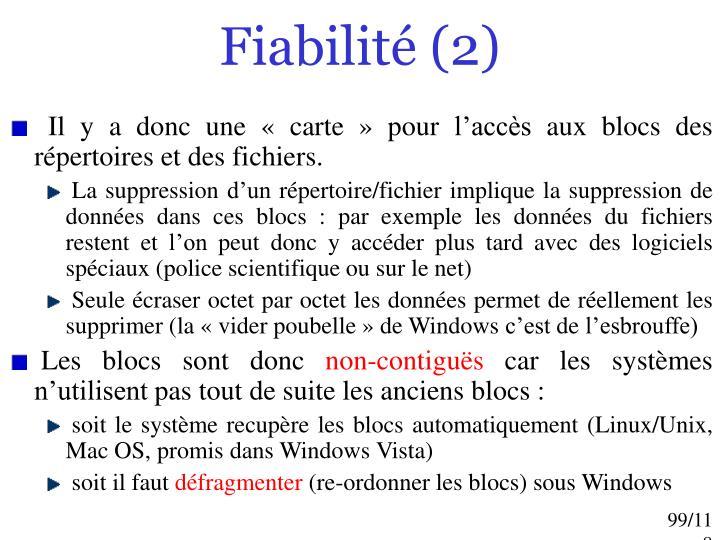 Fiabilité (2)