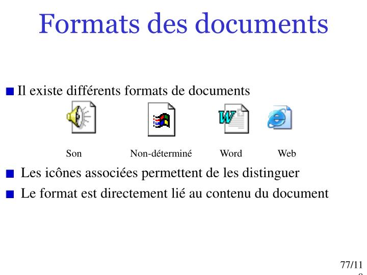 Formats des documents
