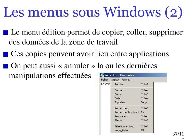 Les menus sous Windows (2)
