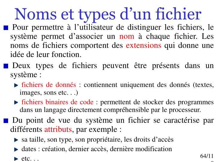 Noms et types d'un fichier