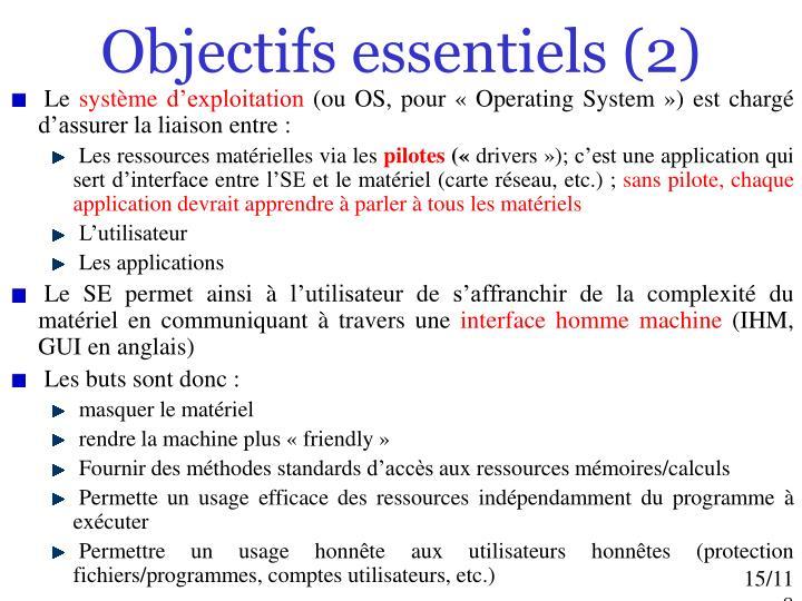 Objectifs essentiels (2)