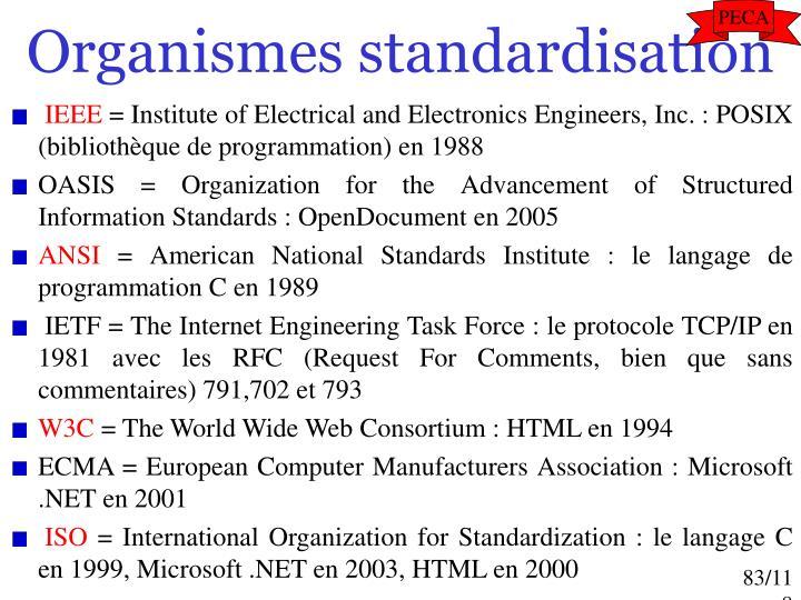 Organismes standardisation