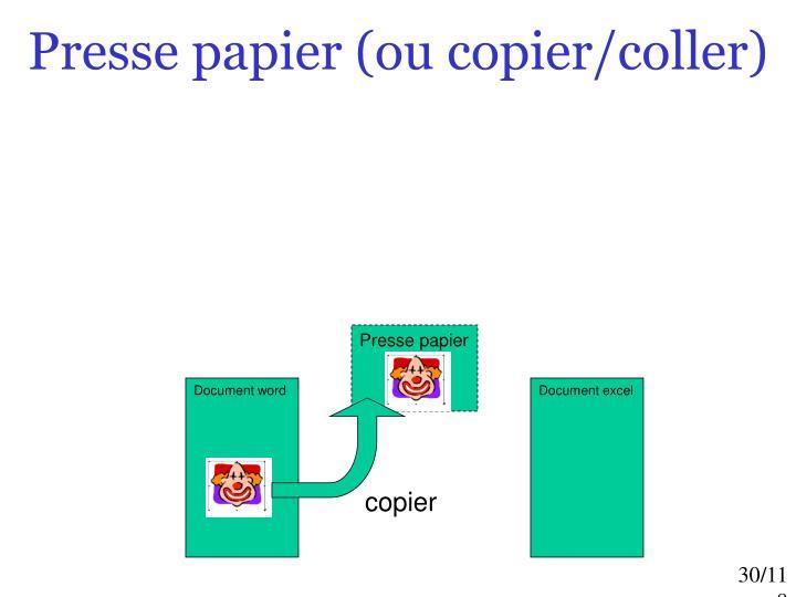 Presse papier (ou copier/coller)