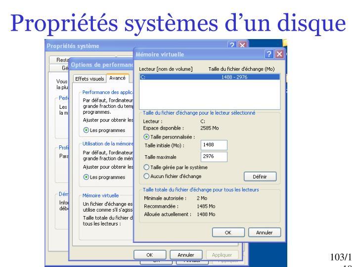 Propriétés systèmes d'un disque