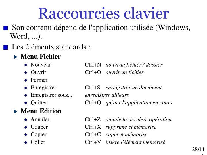 Raccourcies clavier