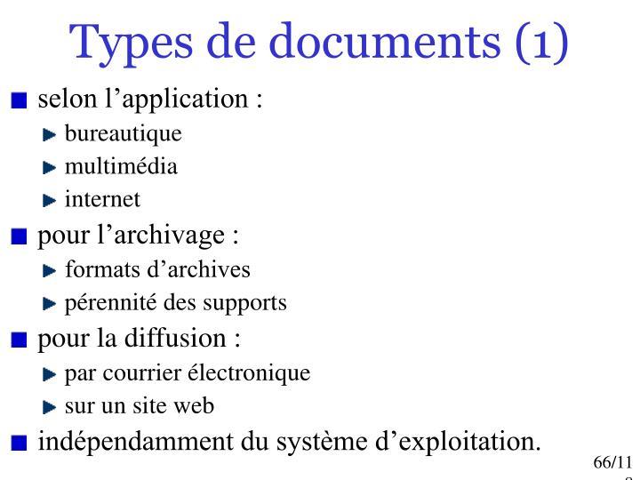 Types de documents (1)