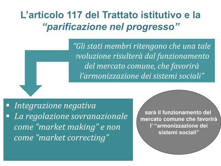 L'articolo 117 del Trattato istitutivo e la