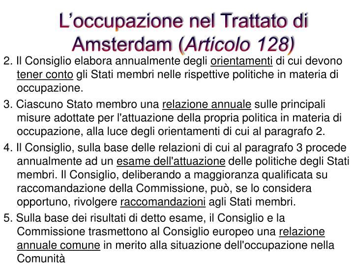 L'occupazione nel Trattato di Amsterdam (