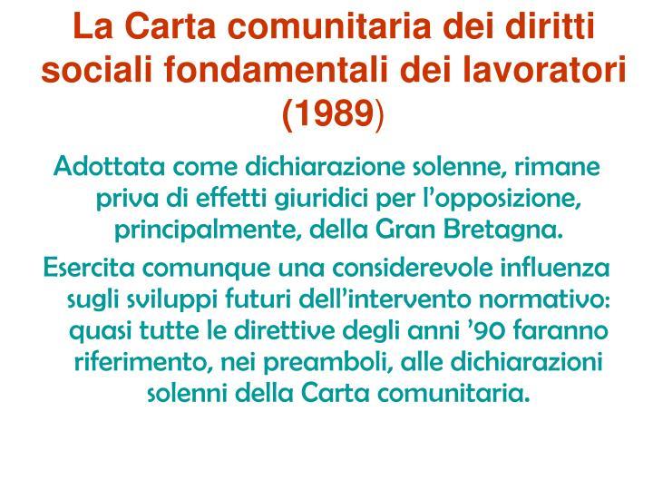 La Carta comunitaria dei diritti sociali fondamentali dei lavoratori (1989