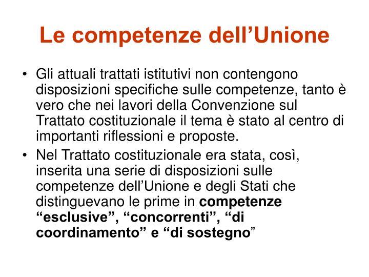 Le competenze dell'Unione