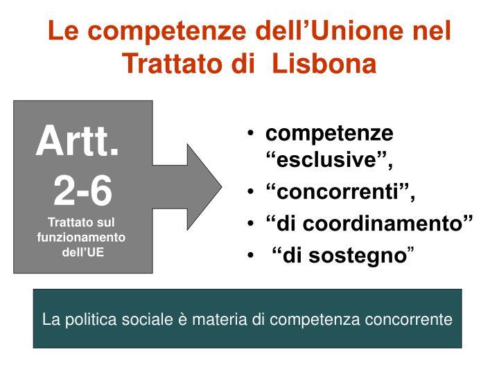 Le competenze dell'Unione nel Trattato di  Lisbona