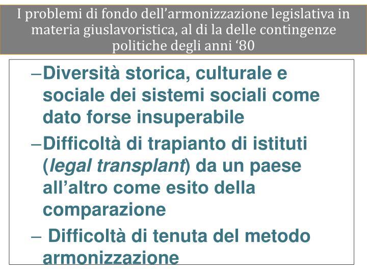 I problemi di fondo dell'armonizzazione legislativa in materia giuslavoristica, al di la delle contingenze politiche degli anni '80