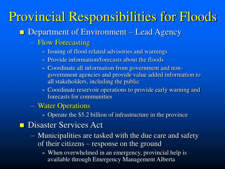 Provincial Responsibilities for Floods