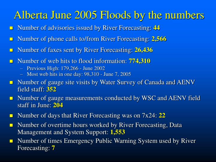Alberta June 2005 Floods by the numbers
