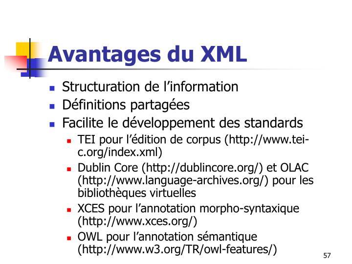 Avantages du XML