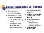 bases textuelles vs corpus