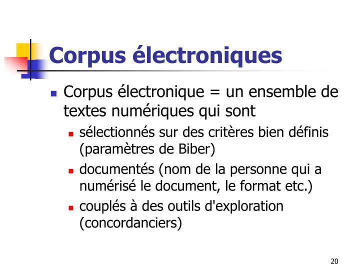 Corpus électroniques