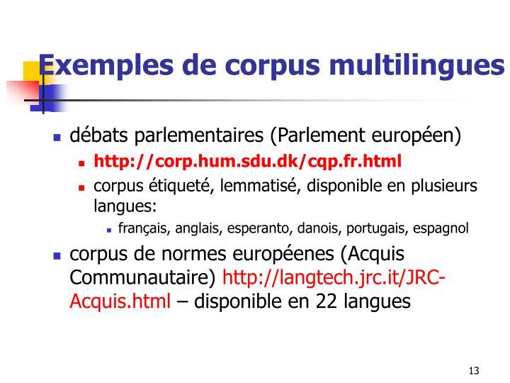 Exemples de corpus multilingues