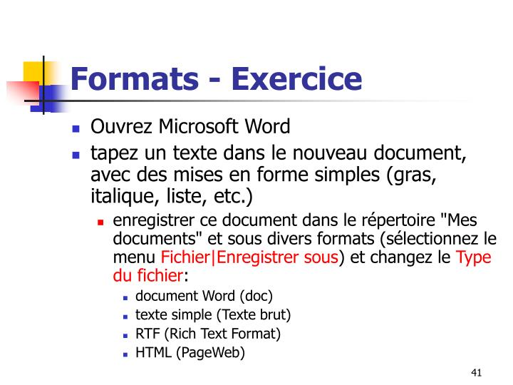 Formats - Exercice