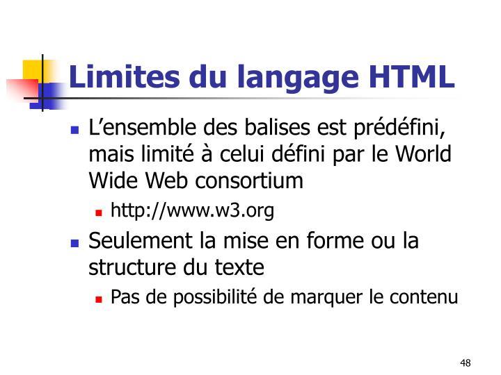 Limites du langage HTML