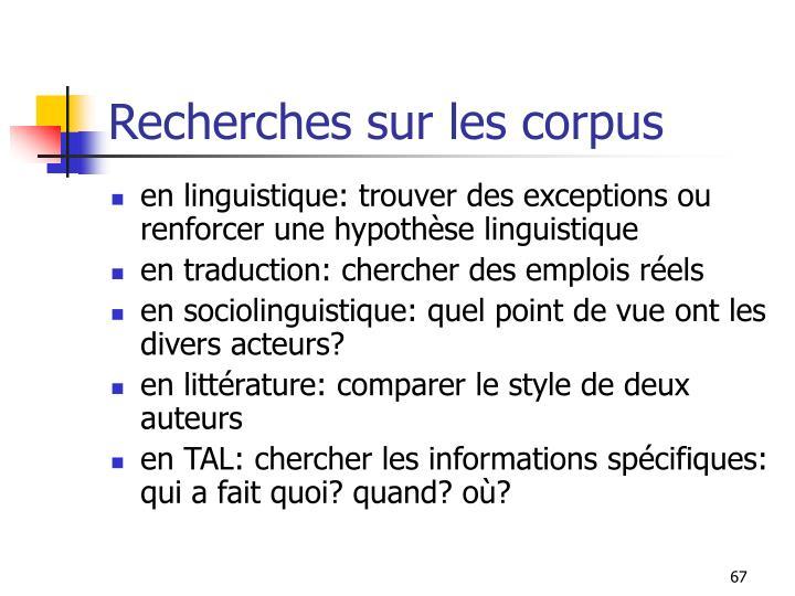 Recherches sur les corpus