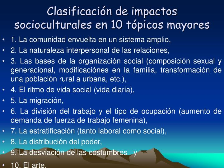 Clasificacin de impactos socioculturales en 10 tpicos mayores