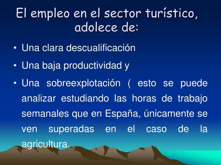 El empleo en el sector turstico, adolece de: