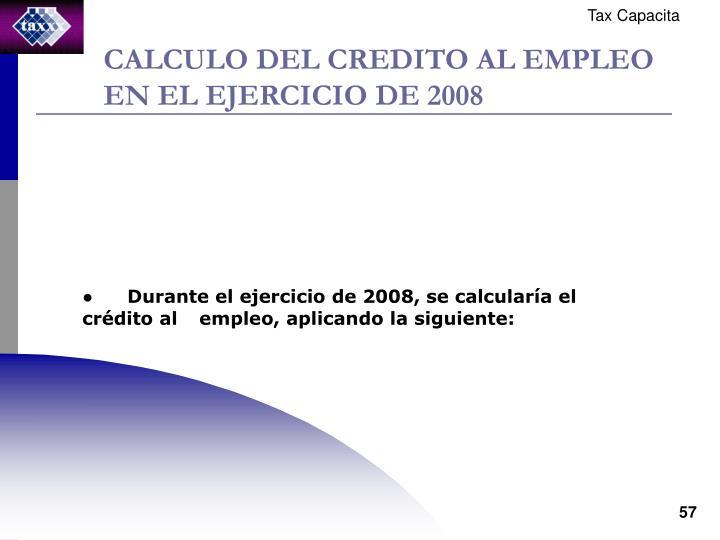 CALCULO DEL CREDITO AL EMPLEO EN EL EJERCICIO DE 2008
