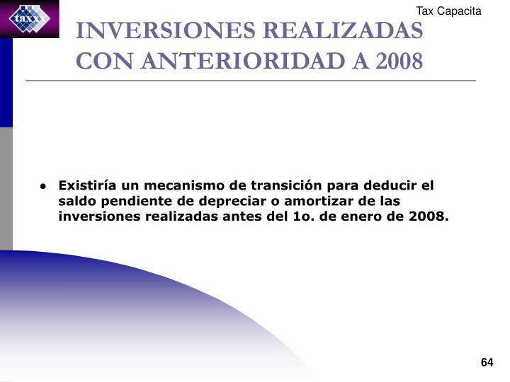 INVERSIONES REALIZADAS CON ANTERIORIDAD A 2008