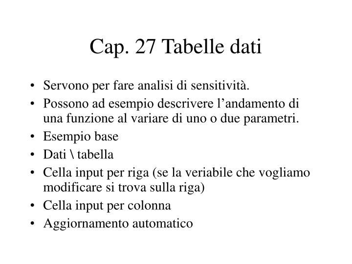 Cap. 27 Tabelle dati